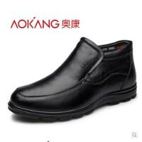 奥康 男鞋冬季加绒棉鞋中年男士商务棉皮鞋保暖父亲鞋
