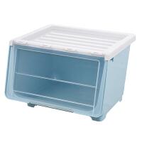 儿童学校加大号前开式收纳箱塑料透明储物箱玩具零食整理箱收纳盒