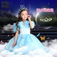 儿童演出服灰姑娘公主裙 女童拖地长裙子圣诞节花童礼服