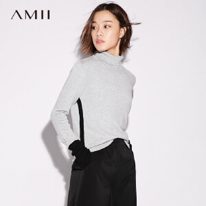 【大牌清仓 5折起】Amii[极简主义] 撞色毛衣女秋装2017新款修身罗纹高领上衣