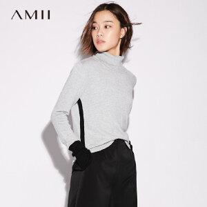 Amii[极简主义] 撞色毛衣女秋装2017新款修身罗纹高领上衣