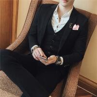 伴郎西服套装男士三件套影楼修身西装新郎结婚礼服英伦韩版主持人 +马甲