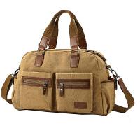 帆布包 单肩包男士包包 手提休闲旅行包男行李包 卡其标准号 均码