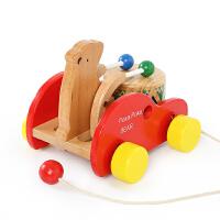 儿童拖拉学步玩具车小熊敲鼓宝宝木制拉绳拉线玩具 彩盒原装