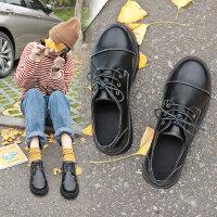 复古英伦风系带女士单鞋 新款黑色单鞋女圆头厚底娃娃鞋 韩版chin女鞋潮