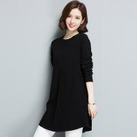 中长款圆领女式针织衫 秋冬新品纯色毛衣打底衫 现货针织
