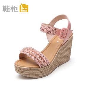 达芙妮旗下SHOEBOX/鞋柜甜美珠饰坡跟罗马鞋高跟凉鞋