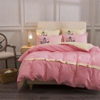 家纺床上用品纯色四件套贡缎棉素色酒店三4件套床单被套 2.