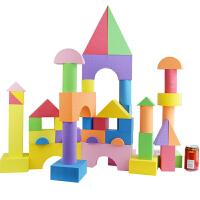 积木桌面玩具可啃咬彩盒装新年礼物儿童大号软体泡沫积木幼儿园