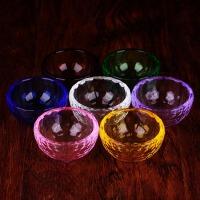 藏传佛教用品 供佛七彩水晶玻璃七供水碗 八供圣水杯 礼盒装6cm