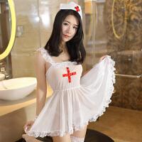 九色生活 情趣内衣蕾丝透明性感女护士制服套装极度用品SM真人丝袜三点式