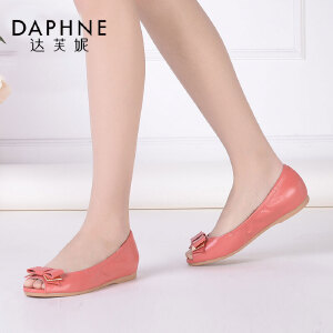 Daphne/达芙妮女鞋 春羊皮时尚舒适甜美蝴蝶结圆头平底鱼嘴女单鞋