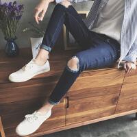 韩国风春装新款膝盖破洞小脚牛仔裤街头潮男百搭修身牛仔裤哈伦裤