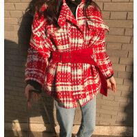 呢大衣女加厚秋冬新款复古千鸟格子毛呢外套女收腰修身长袖chic呢子大衣
