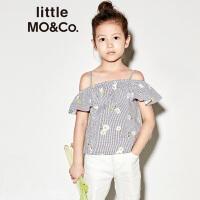 littlemoco夏季新品女童吊带一字领小雏菊印花条纹荷叶边无袖上衣