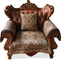 欧式真皮沙发垫坐垫高档布艺罩套巾四季通用防滑奢华美式新古典