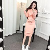 女士冬季套装衣服2017新款时尚加厚抓绒套头卫衣+包臀裙两件套潮