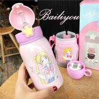 卡通儿童吸管杯两用保温杯子大容量女学生可爱韩版水杯便携少女心