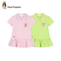 【2件5折价:186元】Hush Puppies暇步士童装女童短袖Polo衫2021夏季新款中大童裙式上衣糖果色