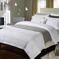 家纺欧式全棉贡缎提花四件套纯白色纯棉1.8m米床上用品