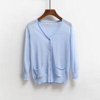 夏季薄款短款棉麻针织衫女开衫空调衫宽松防晒衣透气镂空披肩外搭