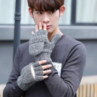 手套男冬季可爱韩版学生情侣加厚女骑车毛线羊绒保暖翻盖棉手套行