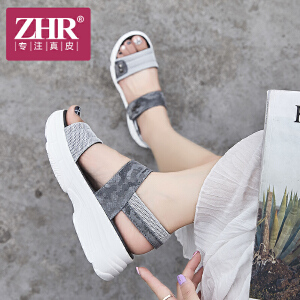 ZHR凉鞋女厚底韩版百搭chic魔术贴女鞋原宿风时尚平底鞋2018夏新品