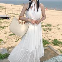 春季女装新款韩版气质木耳边裹胸收腰长裙时尚花边吊带雪纺连衣裙
