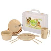 户外餐具套装 便携旅行碗勺子筷子野餐野炊烧烤用品装备露营餐具 24件餐具套装