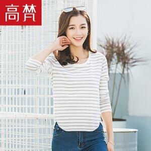 【会员节! 每满100减50】高梵2018新款T恤 时尚条纹长袖t恤女学生韩版修身圆领棉质打底衫