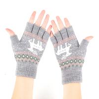 韩版半指手套秋冬季女士毛线保暖可爱学生百搭露指冬天针织漏五指