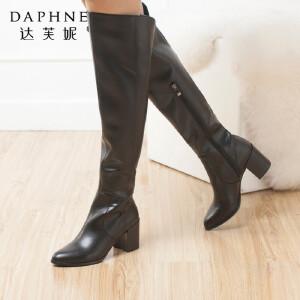 达芙妮正品长筒靴女鞋粗高跟女靴冬季欧美时尚尖头亮面高筒靴长靴
