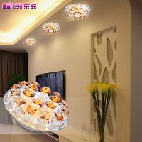 东联现代简约led水晶过道灯吸顶灯明暗两装圆形水晶灯饰x28