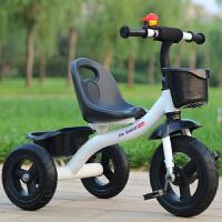 三轮车大号童车小孩自行车婴儿脚踏车玩具宝宝单车2-3-4-6岁 乳白色 顶配钛空轮