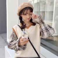 春装韩版小清新格子拼接假两件套头V领长袖毛衣学生针织衫上衣女
