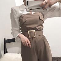 港味复古chic西装领系带白衬衫+卡色抹胸直筒腰连体裤