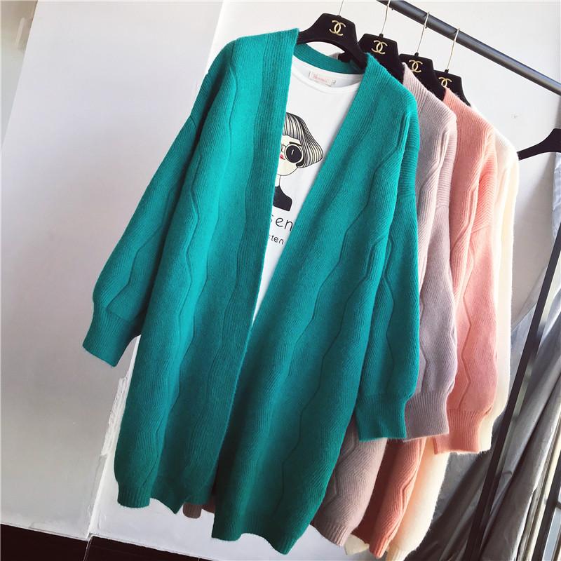 中长款秋款外套女2018新款加厚灯笼袖毛衣开衫清新纯色百搭针织衫