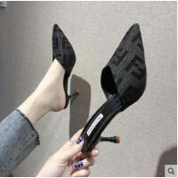 包头半拖鞋女外穿韩版时尚百搭潮款试衣鞋黑色尖头细跟懒人高跟凉拖