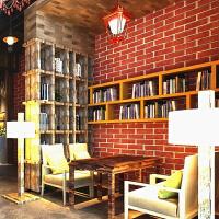 复古中式3D立体砖纹墙纸仿真砖文化石茶楼饭店酒店工程壁纸