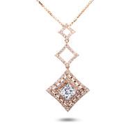 先恩尼钻石 红18k 玫瑰金 1克拉 钻石吊坠HF5095 群镶豪华款项链/吊坠