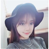 帽子女韩版秋季时尚黑色圆顶毛呢帽波浪边甜美可爱礼帽休闲百搭潮