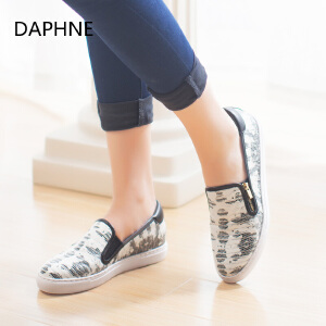 Daphne/达芙妮2  平底拉链深口女单鞋印花布休闲懒人蹬1515404012