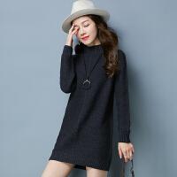 新款加厚毛衣女大码套头中长款羊绒衫宽松针织羊毛打底衫秋冬