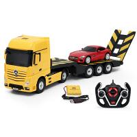 拖车组合遥控汽车儿童玩具互动套装充电动遥控卡车工程车