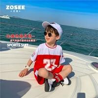 【2件2折】左西童装男童套装夏装儿童篮球服运动装帅气中大童2021新款洋气潮