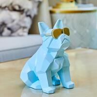 北欧风格树脂狗摆件斗牛犬创意家居客厅服装店工艺装饰品摆设
