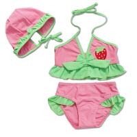 时尚女童比基尼三件套 儿童分体泳衣泳裤泳帽套装 潮  可礼品卡支付