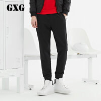 GXG男装 男士修身时尚韩版黑色针织长裤束腿裤#171102276