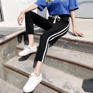 2018新款韩版百搭侧条纹运动裤弹力宽松束脚哈伦休闲裤女
