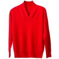 中老年女装V领镶钻全羊毛衫打底衫妈妈装纯色毛针织衫女套头毛衣